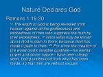 nature declares god
