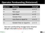 operator pembanding relasional