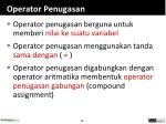 operator penugasan