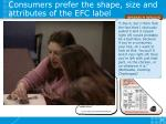 consumers prefer the shape size and attributes of the efc label