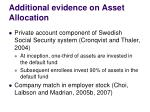additional evidence on asset allocation