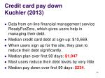 credit card pay down kuchler 2013