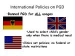 international policies on pgd