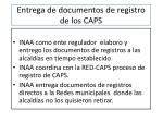 entrega de documentos de registro de los caps