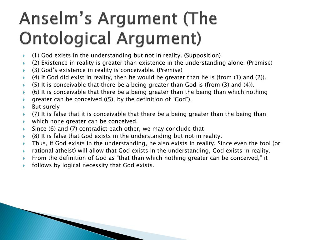 an analysis of the ontological argument about the existence of god