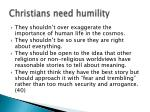 christians need humility