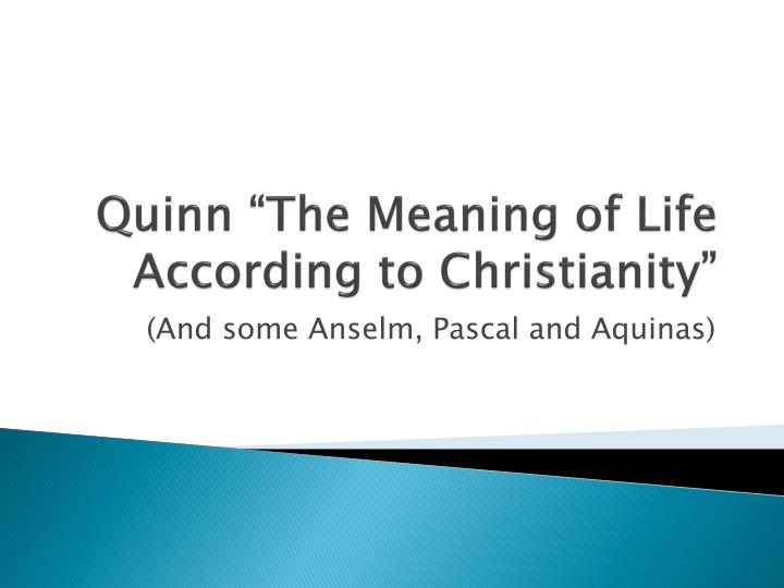 quinn the meaning of life according to christianity n.