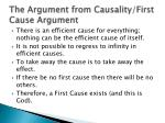 the argument from causality first cause argument