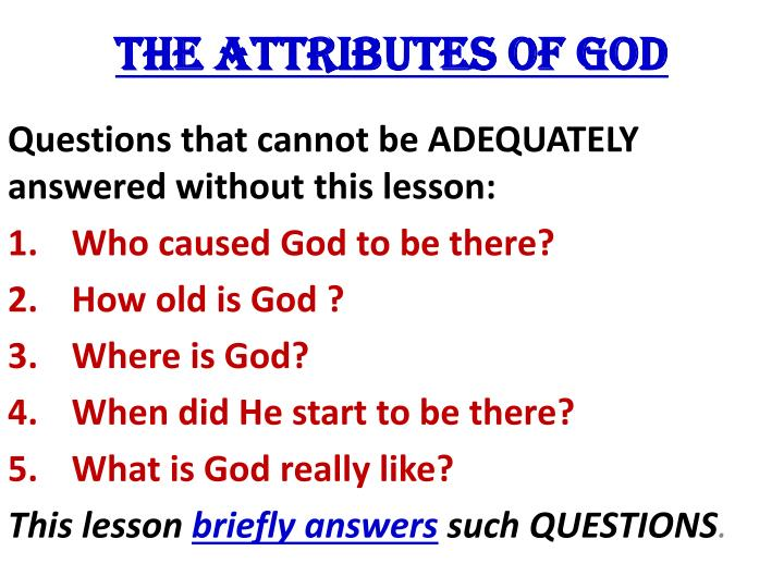 the attributes of god n.