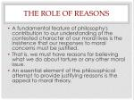the role of reasons