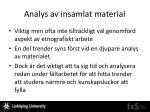 analys av insamlat material