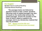 for english multiple choice critical reading passage based reading