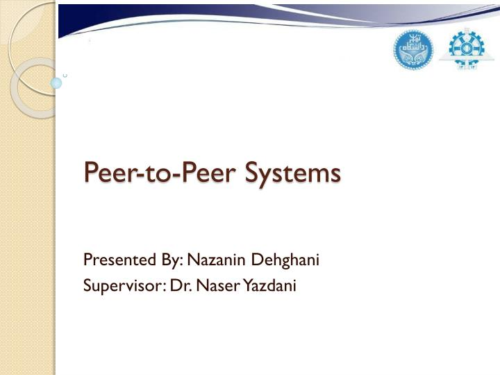 peer to peer systems n.
