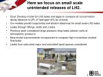 here we focus on small scale unintended releases of lh2