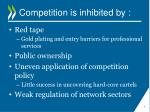 competition is inhibited by
