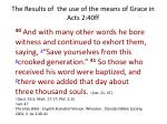 the results of the use of the means of grace in acts 2 40ff