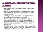 alkynes are less reactive than alkenes