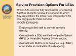 service provision options for leas