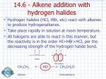 14 6 alkene addition with hydrogen halides