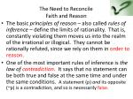 the need to reconcile faith and reason