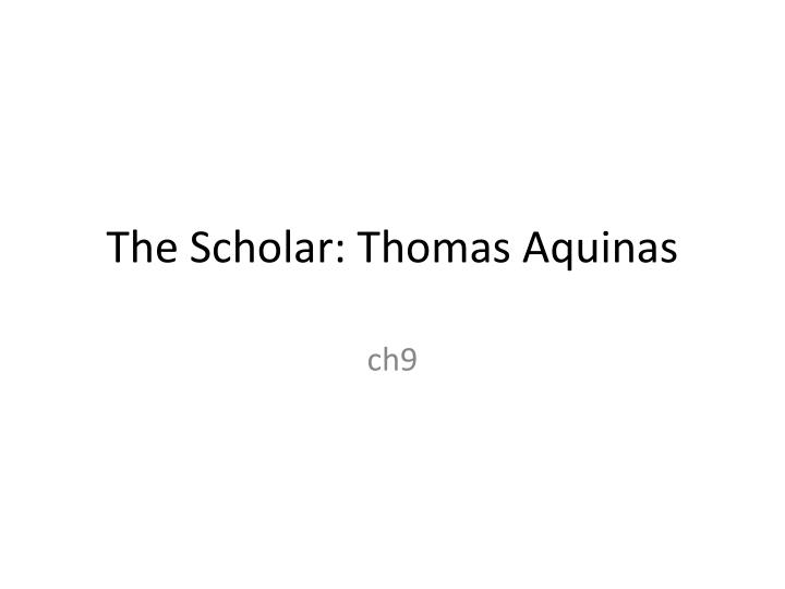 the scholar thomas aquinas n.