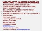 welcome to lassiter football