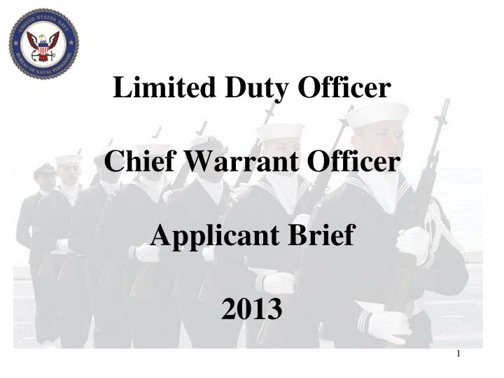 PPT Limited Duty Officer Chief Warrant Officer Applicant