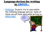 language devices for writing to argue