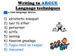writing to argue language techniques