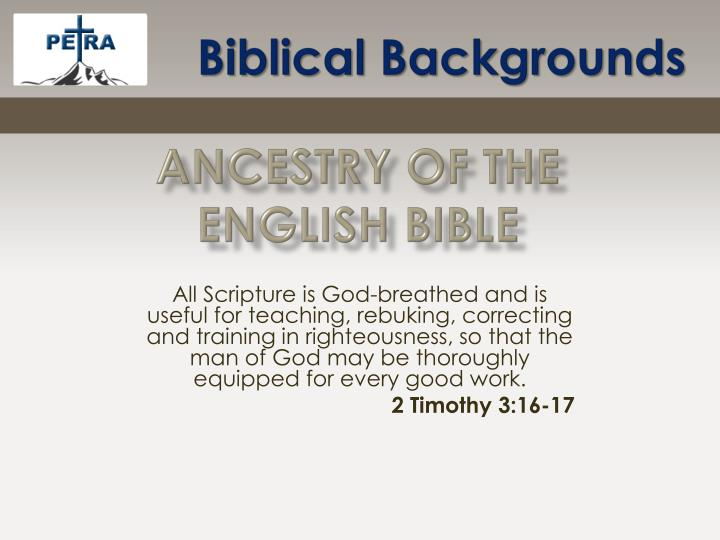 ancestry of the english bible n.