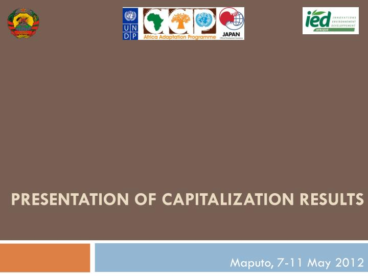 presentation of capitalization results n.
