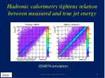hadronic calorimetry tightens relation between measured and true jet energy