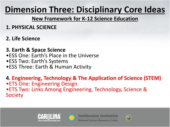 Dimension Three: Disciplinary Core Ideas