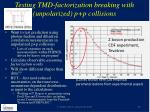 testing tmd factorization breaking with unpolarized p p collisions