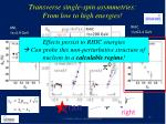 transverse single spin a symmetries from low to h igh energies