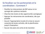 se focaliser sur les partenariats et la coordination comment