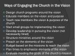 ways of engaging the church in the vision