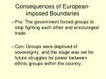 consequences of european imposed boundaries
