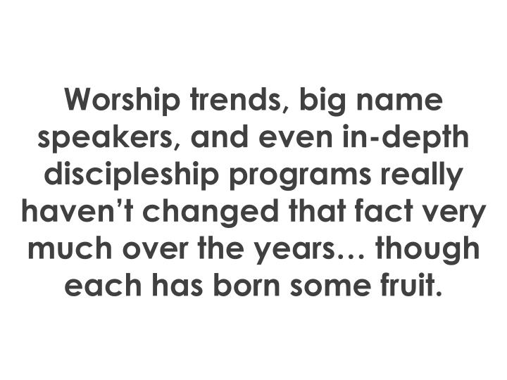 Worship trends, big name speakers, and even in-depth discipleship programs really haven't changed that fact very much over the years… though each has born some fruit.