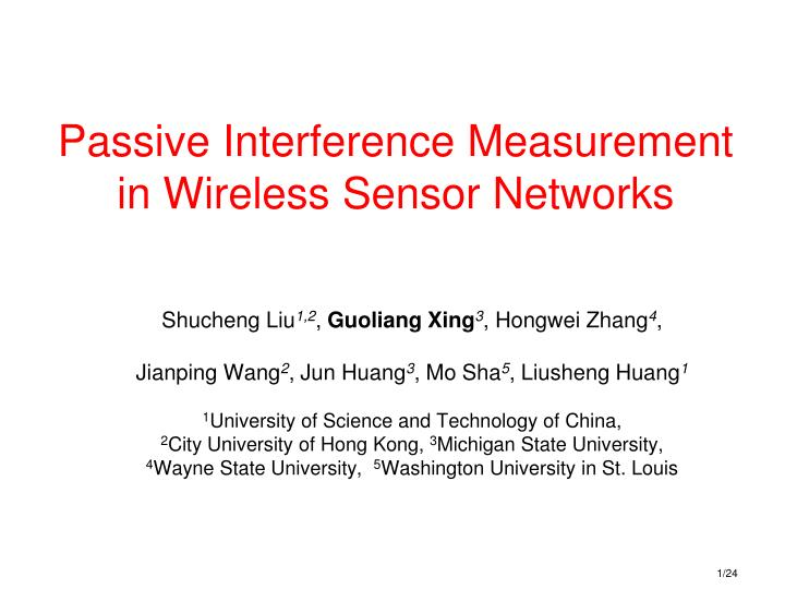 passive interference measurement in wireless sensor networks n.