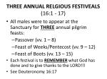 three annual relgious festiveals 16 1 17