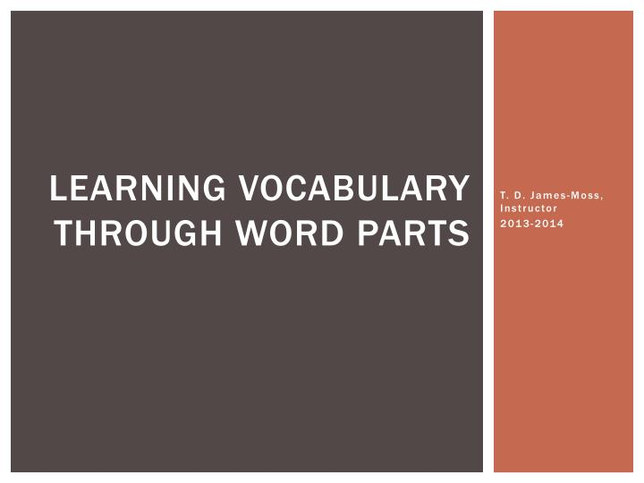learning vocabulary through word parts n.