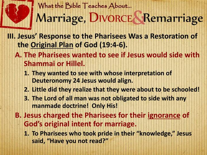 Jesus' Response to the Pharisees Was a Restoration of the