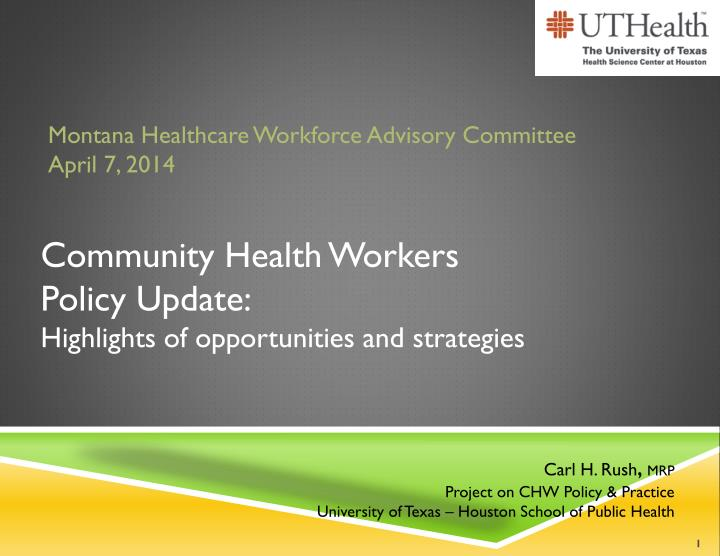 community health workers policy update highlights of opportunities and strategies n.