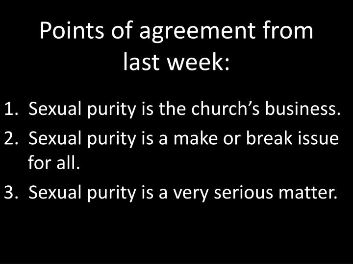 points of agreement from last week