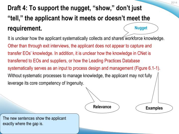 "Draft 4: To support the nugget, ""show,"" don't just ""tell,"" the applicant how it meets or doesn't meet the requirement."