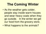the coming winter
