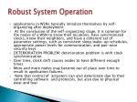 robust system operation