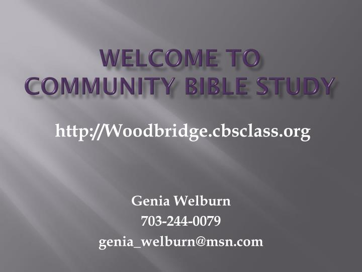 welcome to community bible study n.