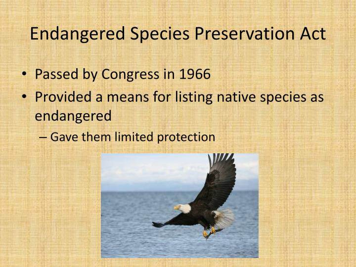 endangered species preservation act n.